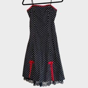 Vintage A.BYER Strapless Black Polka Dot Dress
